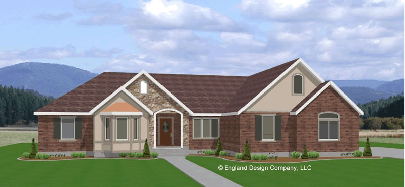 House plan with side garage house plans home designs for Side load garage ranch house plans
